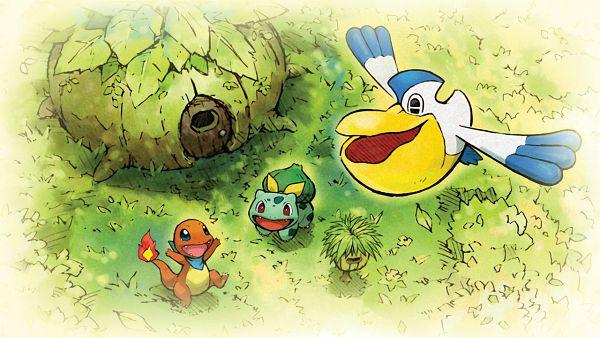 Tags: Anime, GAME FREAK, Pokémon Fushigi no Dungeon Kyuujotai DX, Pokémon Fushigi no Dungeon, Pokémon, Charmander, Pelipper, Bulbasaur, Official Art, Pokémon Mystery Dungeon: Rescue Team Dx