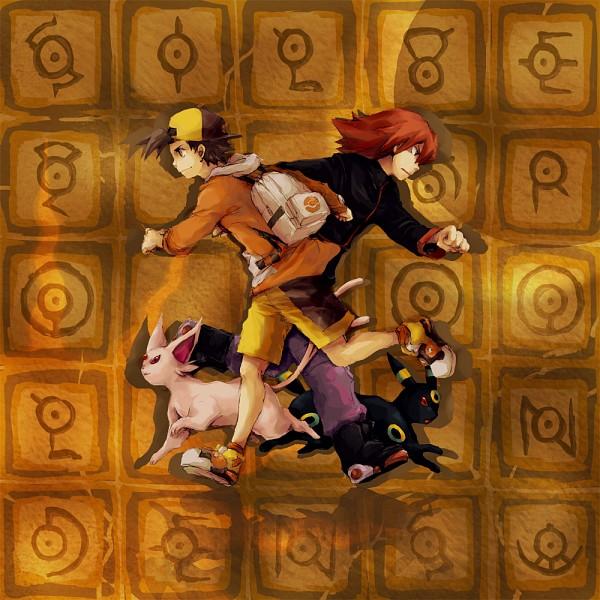 Tags: Anime, Pixiv Id 372388, Pokémon Gold & Silver, Pokémon, Silver (Pokémon), Hibiki (Pokémon), Umbreon, Espeon, Unown, Pixiv, Fanart, Fanart From Pixiv