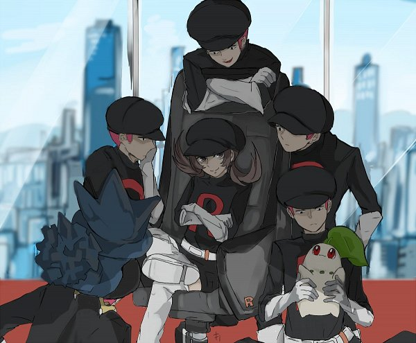 Tags: Anime, Kiri (Kiri0623lag), Pokémon Gold & Silver, Pokémon, Murkrow, Team Rocket Underling (Male), Kotone (Pokémon), Chikorita, Team Rocket (Cosplay), Pokémon (Cosplay), Fanart, Twitter