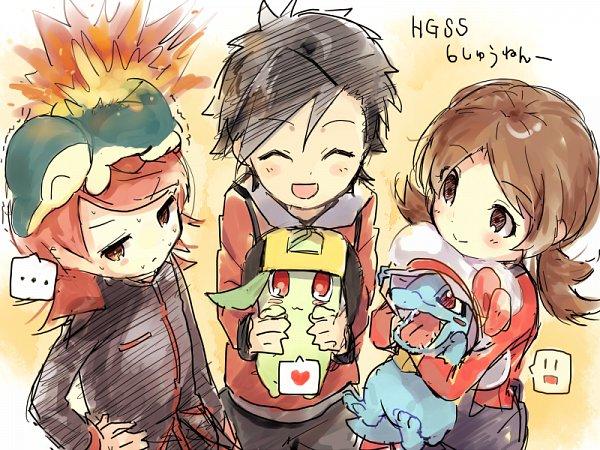 Tags: Anime, Chiparu (Redhand), Pokémon Gold & Silver, Pokémon, Chikorita, Silver (Pokémon), Kotone (Pokémon), Hibiki (Pokémon), Cyndaquil, Totodile, Pixiv, Sketch, Fanart From Pixiv