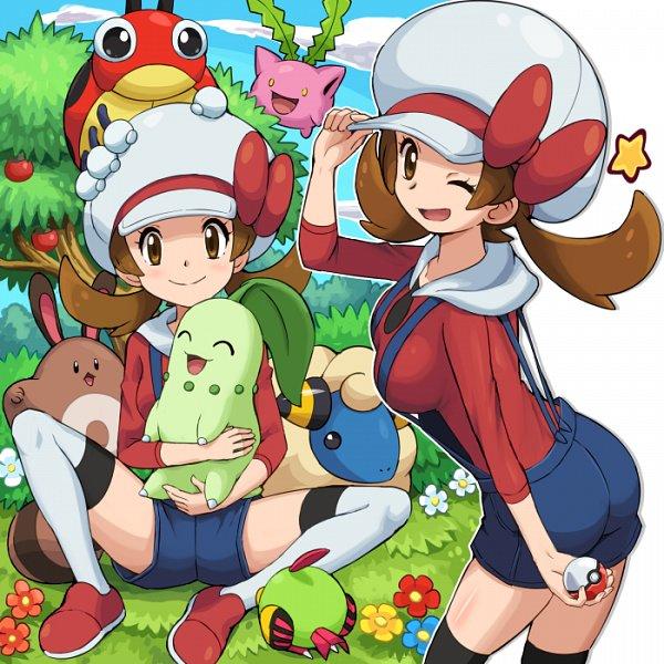 Tags: Anime, Soara, Pokémon Gold & Silver, Pokémon, Mareep, Sentret, Kotone (Pokémon), Natu, Chikorita, Ledyba, Hoppip, Fanart