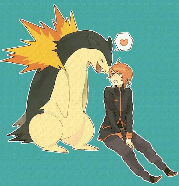 Tags: Anime, Oono (Pixiv1042542), Pokémon Gold & Silver, Pokémon, Typhlosion, Silver (Pokémon), Aqua Background, Fanart From Pixiv, Fanart, Pixiv