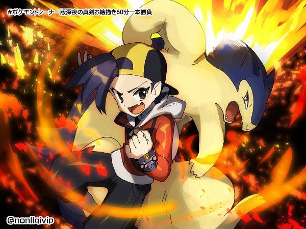 Tags: Anime, Nonllqivip, Pokémon Gold & Silver, Pokémon, Hibiki (Pokémon), Typhlosion, Capri Pants, Pixiv, Fanart From Pixiv, Fanart