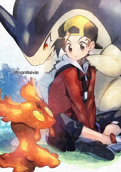 Tags: Anime, Nonllqivip, Pokémon Gold & Silver, Pokémon, Slugma, Typhlosion, Hibiki (Pokémon), Pixiv, Fanart From Pixiv, Fanart