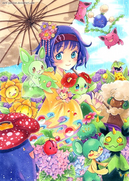 Tags: Anime, Dark-persian, Pokémon Gold & Silver, Pokémon, Bellossom, Maractus, Hoppip, Bellsprout, Vileplume, Pansage, Erika (Pokémon), Sunflora, Cherrim