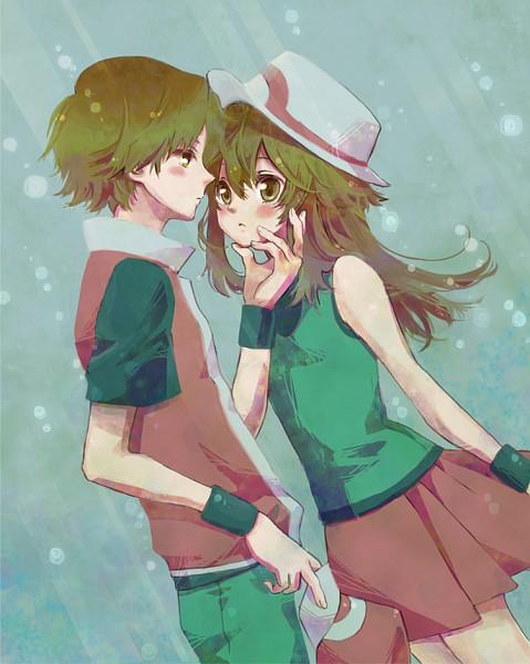 Tags: Anime, Rikovui, Pokémon Red & Green, Pokémon, Fire (Pokémon), Leaf (Pokémon), Fanart From Pixiv, Fanart, Pixiv