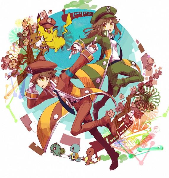 Tags: Anime, Rikovui, Pokémon Red & Green, Pokémon, Squirtle, Eevee, Bulbasaur, Pikachu, Leaf (Pokémon), Charmander, Fire (Pokémon), Nobori (Cosplay), Red Pants