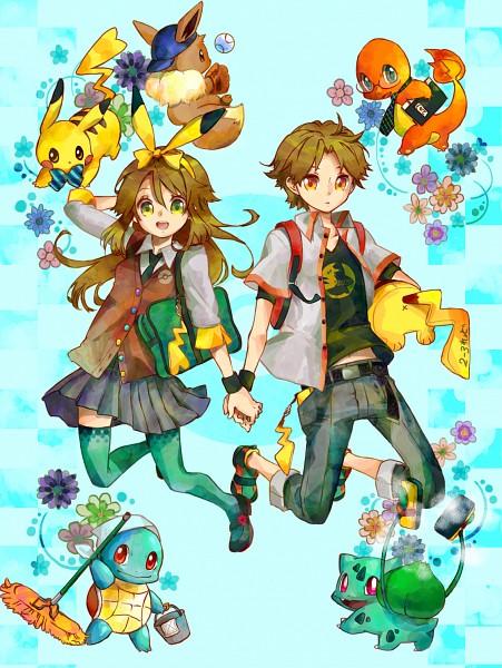 Tags: Anime, Rikovui, Pokémon Red & Green, Pokémon, Pikachu, Leaf (Pokémon), Charmander, Fire (Pokémon), Squirtle, Eevee, Bulbasaur, Green Legwear, Cleaning