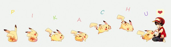 Tags: Anime, Sako U, Pokémon Red & Green, Pokémon, Red (Pokémon), Pikachu, Chronophotography, Fanart