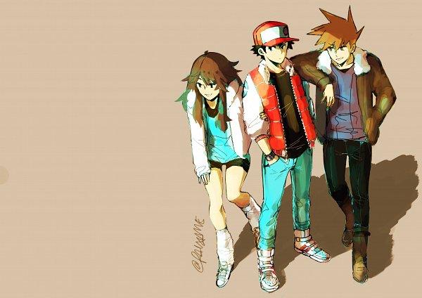 Tags: Anime, Palito-de-pan, Pokémon Red & Green, Pokémon, Red (Pokémon), Green (Pokémon), Leaf (Pokémon), Beige Background, Leg Warmers, Fanart From Pixiv, Pixiv, Fanart