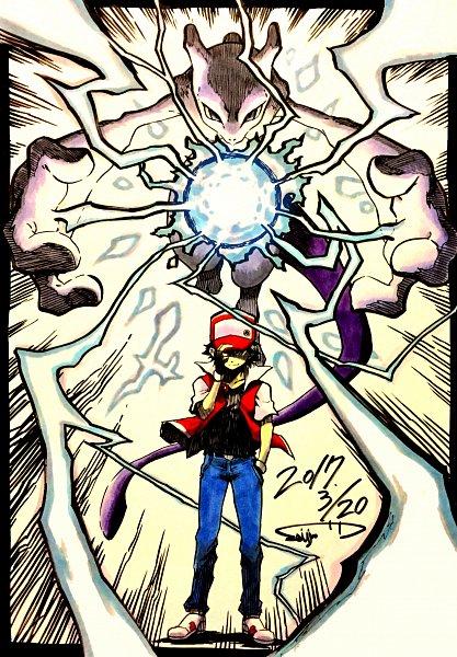 Tags: Anime, Pixiv Id 411252, Pokémon Red & Green, Pokémon, Mewtwo, Red (Pokémon), Pixiv, Fanart From Pixiv, Legendary Pokémon, Fanart