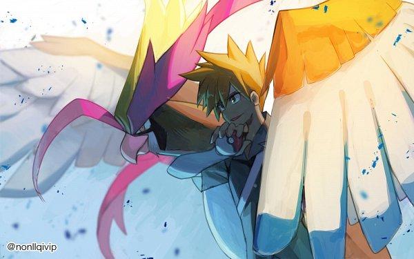 Tags: Anime, Nonllqivip, Pokémon Red & Green, Pokémon, Green (Pokémon), Pidgeotto, Pixiv, Fanart From Pixiv, Fanart