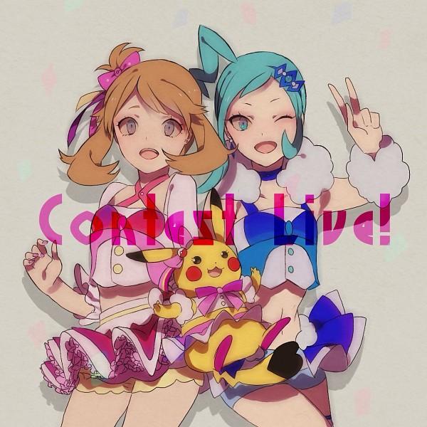 Tags: Anime, Pixiv Id 12776564, Pokémon Ruby & Sapphire, Pokémon, Haruka (Pokémon), Pikachu, Lutia (Pokémon), Fanart, Pixiv