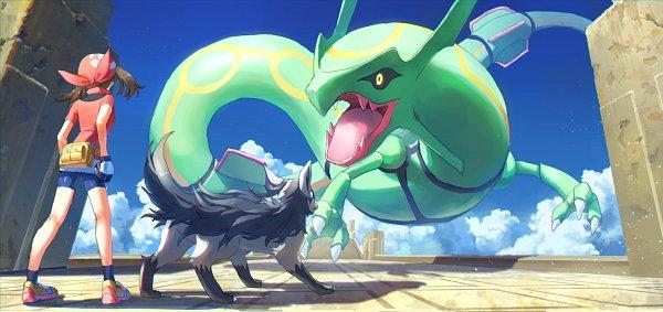 Tags: Anime, Pixiv Id 1922055, Pokémon Ruby & Sapphire, Pokémon, Rayquaza, Mightyena, Haruka (Pokémon), Fanart From Pixiv, Pixiv, Legendary Pokémon, Fanart