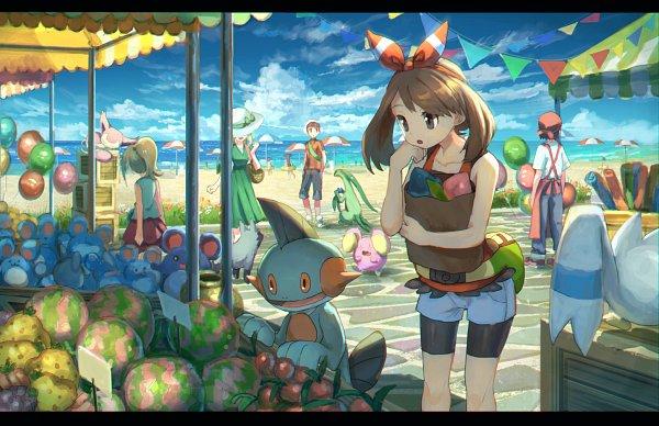 Tags: Anime, Pixiv Id 1922055, Pokémon Ruby & Sapphire, Pokémon, Grovyle, Whismur, Marill, Tuber (Pokémon), Wingull, Yuuki (Pokémon), Lady (Pokémon), Skitty, Marshtomp