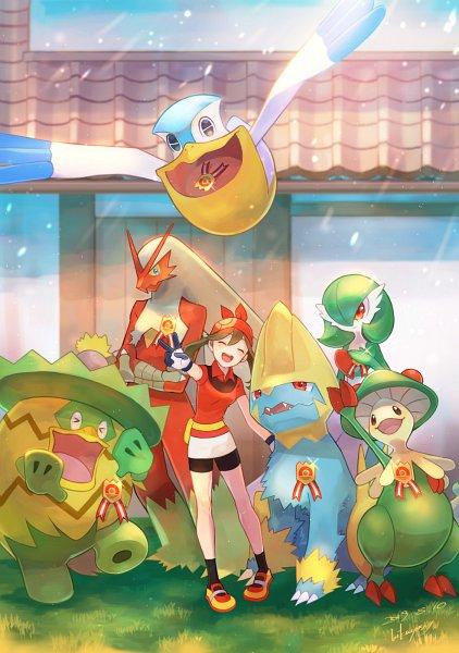 Tags: Anime, Pixiv Id 2490919, Pokémon Ruby & Sapphire, Pokémon, Gardevoir, Breloom, Ludicolo, Blaziken, Manectric, Haruka (Pokémon), Pelipper, Yellow Footwear, Fanart From Pixiv
