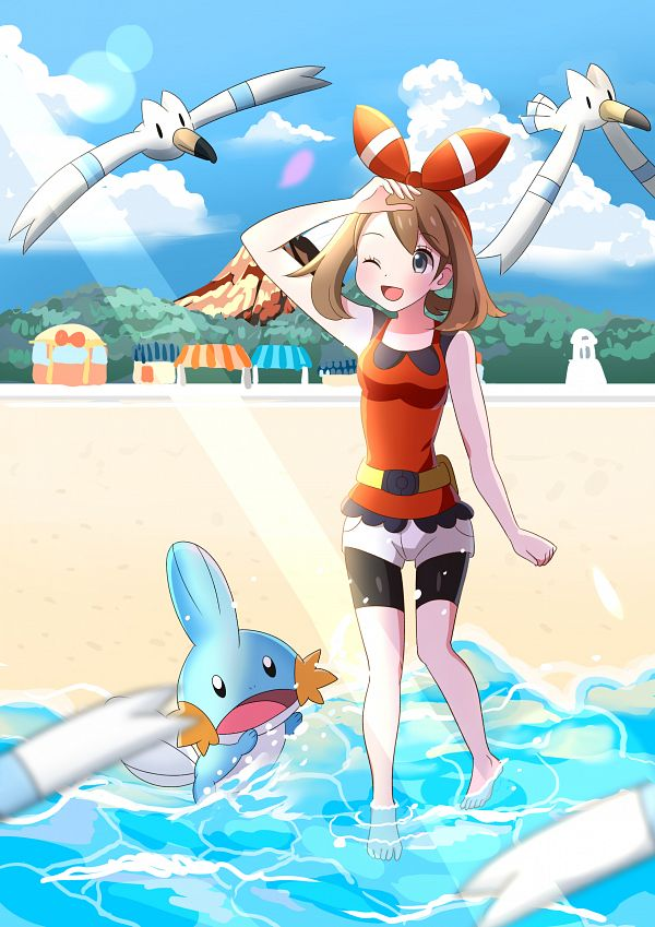 Tags: Anime, Pixiv Id 4643422, Pokémon Ruby & Sapphire, Pokémon, Mudkip, Haruka (Pokémon), Fanart From Pixiv, Fanart, Pixiv