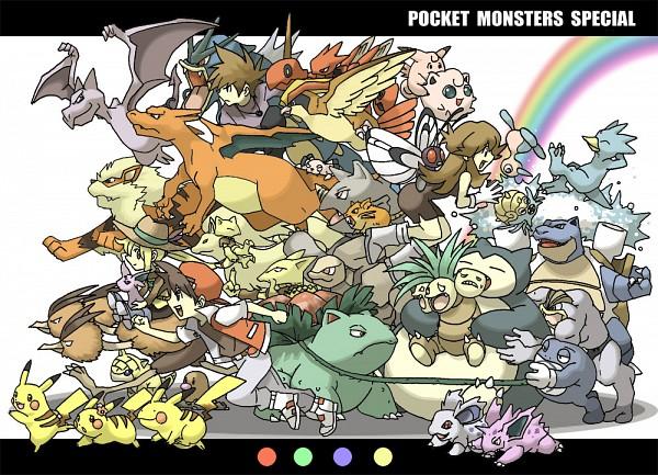 Tags: Anime, Pokémon SPECIAL, Pokémon, Aerodactyl, Machamp, Leaf (Pokémon), Rattata, Porygon2, Clefairy, Rhydon, Venusaur, Snubbull, Golduck, Pokémon Adventures