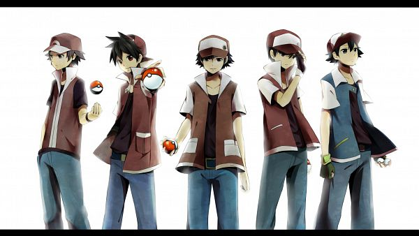 Tags: Anime, Yatile, Pokémon SPECIAL, Pokémon, Satoshi (Pokémon), Fire (Pokémon), Red (Pokémon), Green Handwear, Aiming At Camera, Glowing Background, Characteristic Connection, Green Gloves, Fanart, Pokémon Adventures