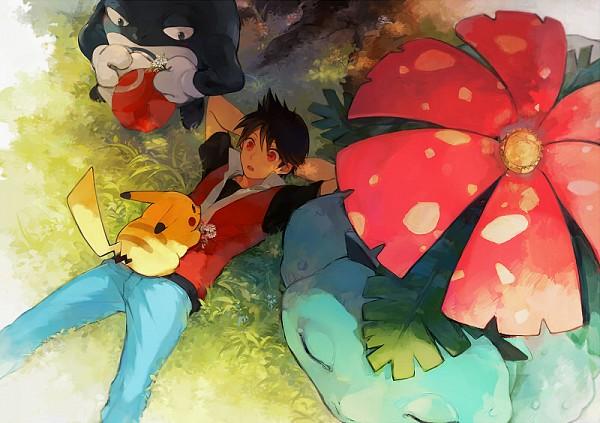 Tags: Anime, Lupicam, Pokémon SPECIAL, Pokémon, Venusaur, Red (Pokémon SPECIAL), Poliwrath, Pikachu, Laying on Grass, Fanart From Pixiv, Fanart, Pixiv, Pokémon Adventures