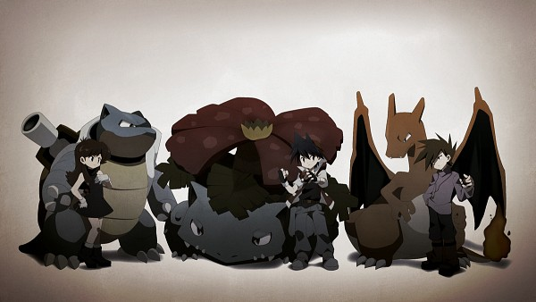 Tags: Anime, Ayaori (Merry Widow), Pokémon SPECIAL, Pokémon, Blastoise, Green Oak (Pokémon SPECIAL), Venusaur, Blue (Pokémon SPECIAL), Charizard, Red (Pokémon SPECIAL), Green (Pokémon), Wallpaper, Facebook Cover, Pokémon Adventures