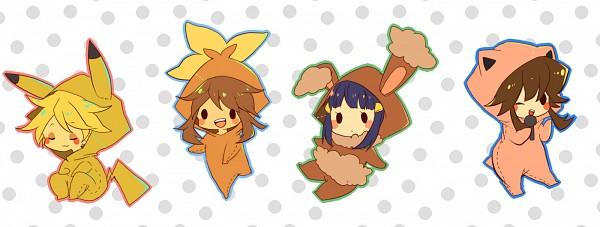Tags: Anime, Pokémon SPECIAL, Pokémon, Platinum Berlitz, Yellow (Pokémon Special), Odamaki Sapphire, Blue (Pokémon SPECIAL), Pokémon (Cosplay), Pikachu (Cosplay), Jigglypuff (Cosplay), Torchic (Cosplay), Kigurumi, Buneary (Cosplay), Pokémon Adventures