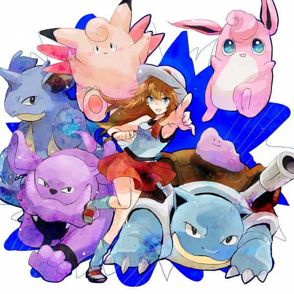 Tags: Anime, Pixiv Id 2054542, Pokémon SPECIAL, Pokémon, Clefable, Ditto, Wigglytuff, Blue (Pokémon SPECIAL), Nidoqueen, Blastoise, Meta-chan, Granbull, Pointing at Camera, Pokémon Adventures