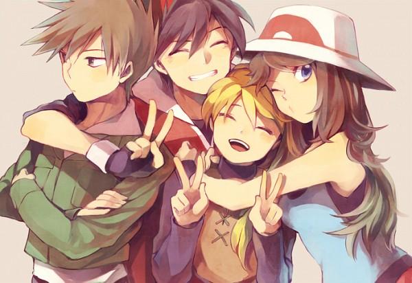 Tags: Anime, Yui Aria, Pokémon SPECIAL, Pokémon, Green Oak (Pokémon SPECIAL), Blue (Pokémon SPECIAL), Yellow (Pokémon Special), Red (Pokémon SPECIAL), Group Hug, Fanart From Pixiv, Fanart, Pixiv, Pokémon Adventures