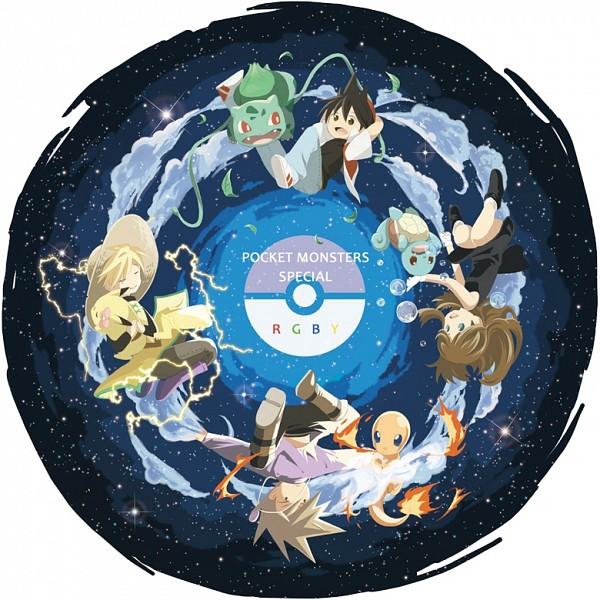 Tags: Anime, Pokémon SPECIAL, Pokémon, Pikachu, Green Oak (Pokémon SPECIAL), Bulbasaur, Blue (Pokémon SPECIAL), Charmander, Red (Pokémon SPECIAL), Squirtle, Chuchu (Pokémon), Yellow (Pokémon Special), Artist Request, Pokémon Adventures