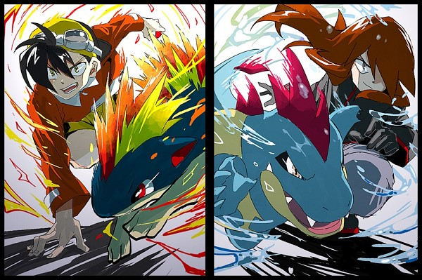 Tags: Anime, BeBeo, Pokémon SPECIAL, Pokémon, Croconaw, Silver (Pokémon SPECIAL), Quilava, Gold (Pokémon SPECIAL), Fanart, Pixiv, Fanart From Pixiv, Pokémon Adventures
