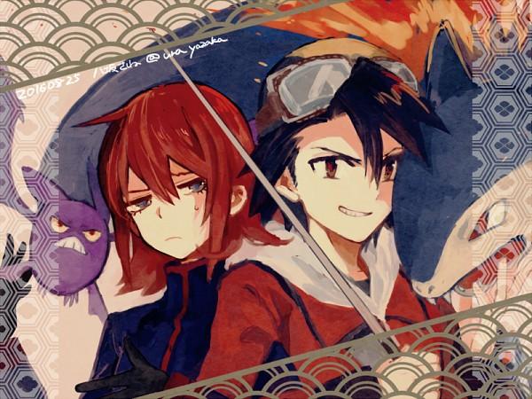 Tags: Anime, Pixiv Id 17859249, Pokémon SPECIAL, Pokémon, Silver (Pokémon SPECIAL), Crobat, Gold (Pokémon SPECIAL), Typhlosion, Twitter, PNG Conversion, Fanart