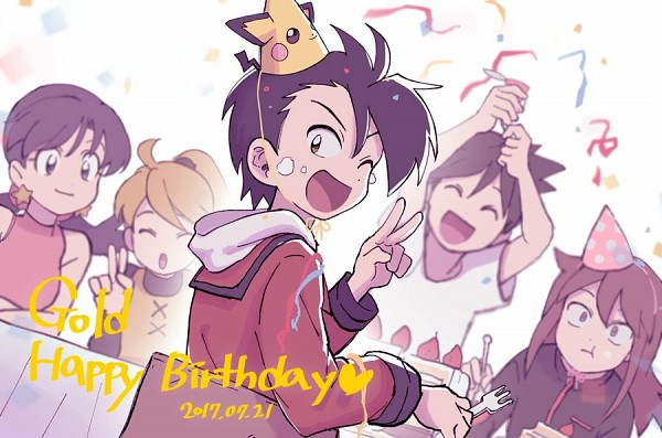 Tags: Anime, Euig, Pokémon SPECIAL, Pokémon, Red (Pokémon SPECIAL), Crystal (Pokémon SPECIAL), Yellow (Pokémon Special), Silver (Pokémon SPECIAL), Gold (Pokémon SPECIAL), Holding Fork, Party, Party Hat, Fanart, Pokémon Adventures