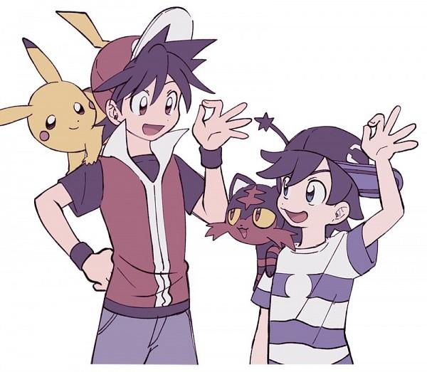 Tags: Anime, Euig, Pokémon SPECIAL, Pokémon Red & Green, Pokémon, Litten, Sun (Pokémon SPECIAL), Pikachu, Red (Pokémon SPECIAL), Fanart, Twitter, Pokémon Adventures