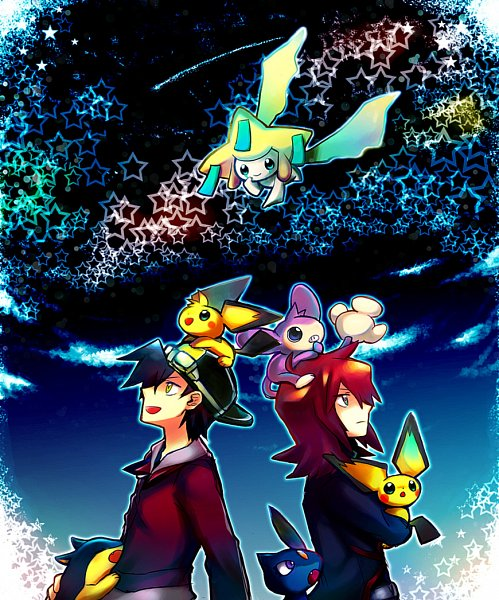 Tags: Anime, Pixiv Id 100022, Pokémon SPECIAL, Pokémon, Typhlosion, Sneasel, Jirachi, Silver (Pokémon SPECIAL), Aipom, Gold (Pokémon SPECIAL), Pichu, Quilava, Fanart, Pokémon Adventures