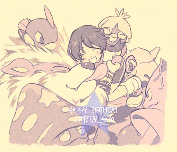 Tags: Anime, bu (Pixiv14043116), Pokémon SPECIAL, Pokémon, Smoochum, Natu, Parasect, Arcanine, Crystal (Pokémon SPECIAL), Hitmonlee, Cubone, Hitmonchan, Beige Background, Pokémon Adventures