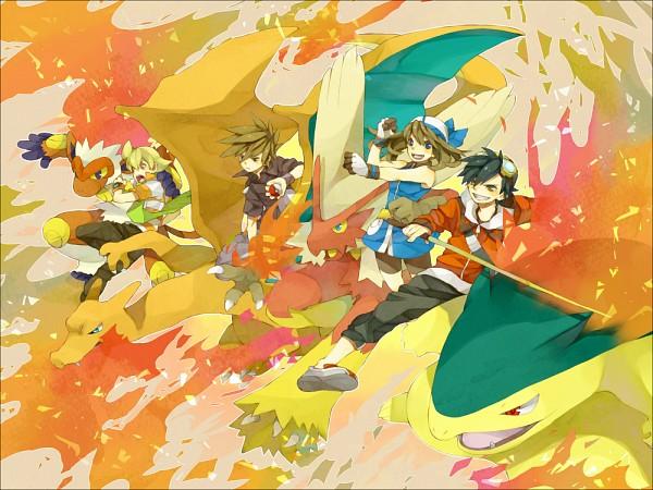 Tags: Anime, Pixiv Id 2493694, Pokémon SPECIAL, Pokémon, Green Oak (Pokémon SPECIAL), Charizard, Pearl (Pokémon SPECIAL), Odamaki Sapphire, Infernape, Gold (Pokémon SPECIAL), Blaziken, Typhlosion, 1000x750 Wallpaper, Pokémon Adventures