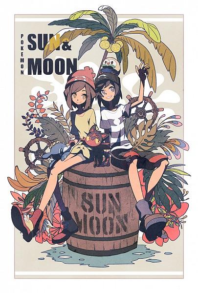 Tags: Anime, Pixiv Id 3393042, Pokémon Sun & Moon, Pokémon, Rowlet, You (Pokémon), Mizuki (Pokémon), Popplio, Litten, Mobile Wallpaper, Fanart, Fanart From Pixiv, PNG Conversion