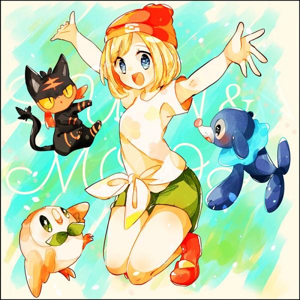 Tags: Anime, Pixiv Id 2239516, Pokémon Sun & Moon, Pokémon, Rowlet, Mizuki (Pokémon), Popplio, Litten, Seal (Animal), Fanart From Pixiv, Fanart, PNG Conversion, Pixiv