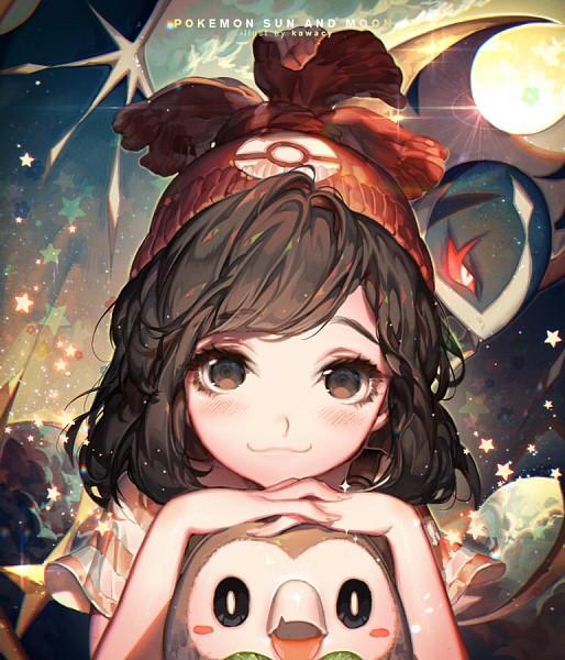 Tags: Anime, kawacy, Pokémon Sun & Moon, Pokémon, Lunala, Female Protagonist (Pokémon Sun/Moon), Rowlet, Revision, Fanart, Fanart From DeviantART, Legendary Pokémon, deviantART