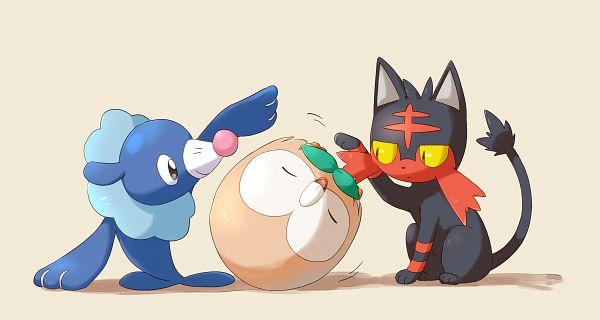 Tags: Anime, Semicha Keisuke, Pokémon Sun & Moon, Pokémon, Rowlet, Popplio, Litten, Seal (Animal), Yellow Sclera, Wallpaper, PNG Conversion, Starter Pokémon