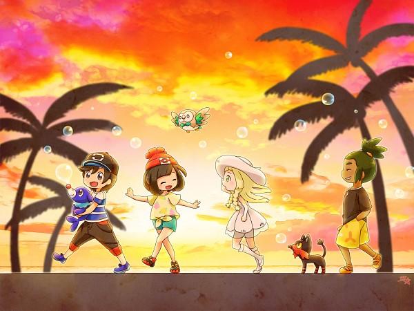 Tags: Anime, Pixiv Id 2584338, Pokémon Sun & Moon, Pokémon, Mizuki (Pokémon), Popplio, Lillie (Pokémon), Litten, Hau (Pokémon), Rowlet, You (Pokémon), Morning, Fanart