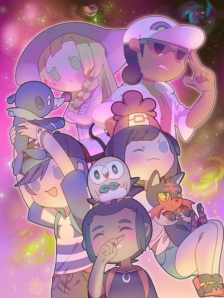 Tags: Anime, Pixiv Id 3237063, Pokémon Sun & Moon, Pokémon, Mizuki (Pokémon), Lillie (Pokémon), Popplio, Hau (Pokémon), Litten, Kukui, Rowlet, You (Pokémon), Mobile Wallpaper