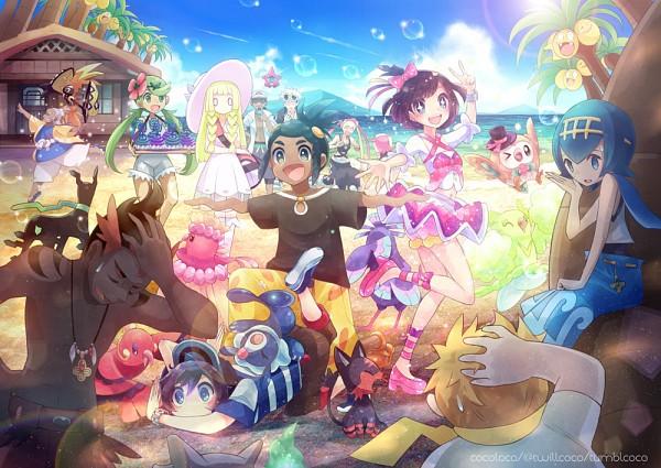 Tags: Anime, Kokoroko, Pokémon Sun & Moon, Pokémon, Rowlet, Suiren (Pokémon), Hala (Pokemon), Exeggutor, You (Pokémon), Oricorio, Tapu Koko, Purumeri, Mizuki (Pokémon)