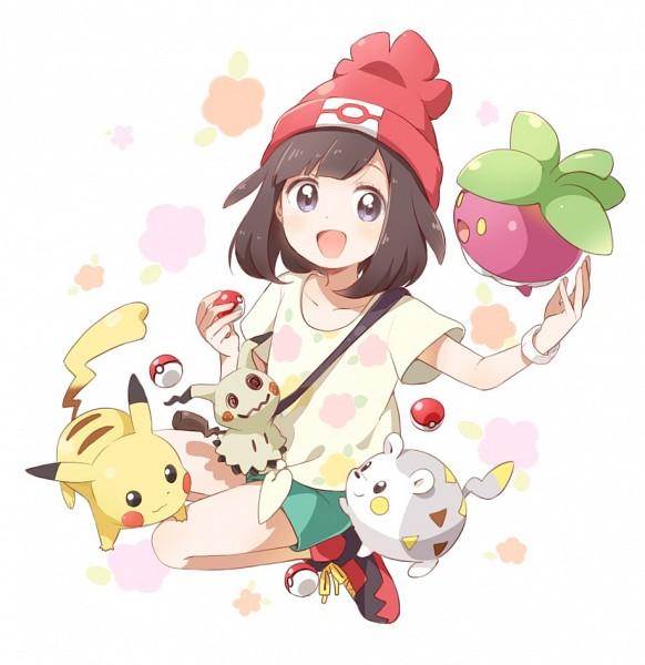 Tags: Anime, Namori, Pokémon Sun & Moon, Pokémon, Pikachu, Mimikyu, Togedemaru, Mizuki (Pokémon), Bounsweet, Fanart