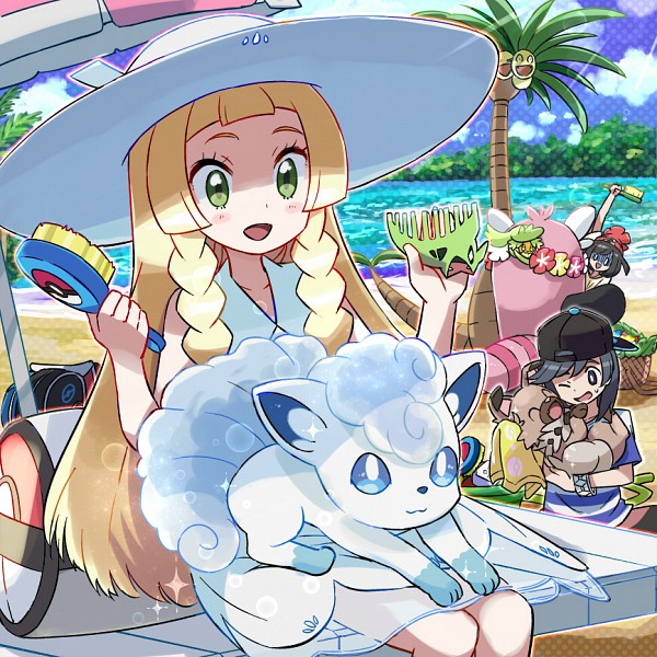 Tags: Anime, Kingin, Pokémon Sun & Moon, Pokémon, Rockruff, Lillie (Pokémon), Exeggutor, You (Pokémon), Vulpix, Comfey, Mizuki (Pokémon), Bewear, Brush