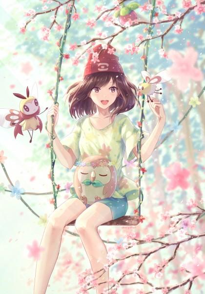 Tags: Anime, Pixiv Id 17275432, Pokémon Sun & Moon, Pokémon, Ribombee, Female Protagonist (Pokémon Sun/Moon), Rowlet, Bounsweet, Cutiefly, Swing, Pixiv, Mobile Wallpaper, Fanart From Pixiv