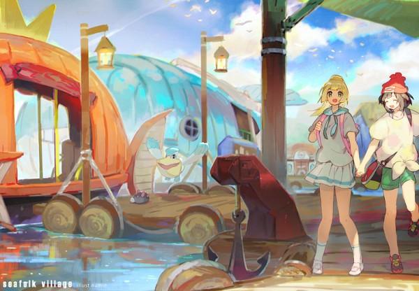 Tags: Anime, Namie-kun, Pokémon Sun & Moon, Pokémon, Pyukumuku, Lillie (Pokémon), Mizuki (Pokémon), Pelipper, Green Shorts, Fanart, PNG Conversion, Twitter