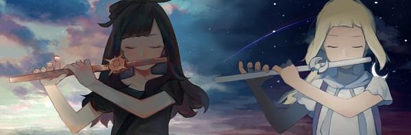 Tags: Anime, Pixiv Id 3648759, Pokémon Sun & Moon, Pokémon, Lillie (Pokémon), Mizuki (Pokémon), Flute, Fanart, Twitter Header, Fanart From Pixiv, Pixiv