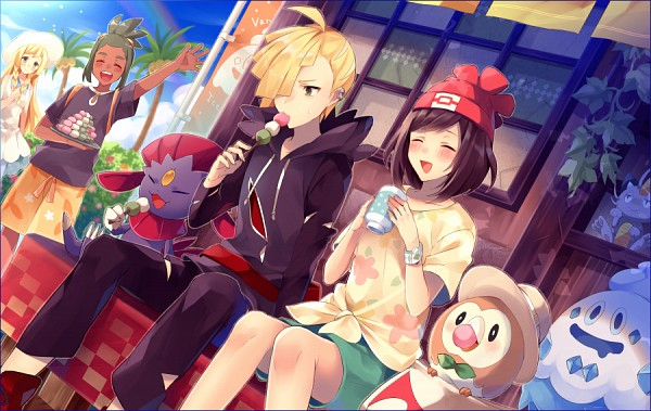 Tags: Anime, Pixiv Id 4530056, Pokémon Sun & Moon, Pokémon, Mizuki (Pokémon), Exeggutor, Gladion, Rowlet, Vanillish, Meowth, Lillie (Pokémon), Hau (Pokémon), Weavile