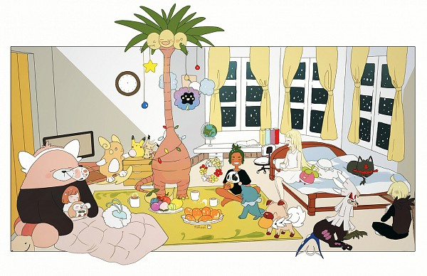 Tags: Anime, tofuvi, Pokémon Sun & Moon, Pokémon, Mimikyu, Altaria, Popplio, Rockruff, Raichu, Litten, Comfey, Exeggutor, Lillie (Pokémon)